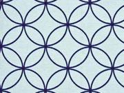 Dekostoff grafische Kreise Kringel, dunkelblau auf mint