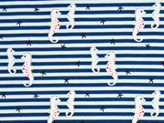 Jersey Seepferdchen Streifen, hellblau dunkelblau