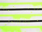 Jersey Streifen 1 cm Farbkleckse, neongelb schwarz weiß