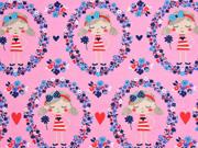 Jersey Mädchen im Blumenkreis, rosa