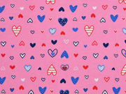 Jersey gemusterte Herzchen, rosa