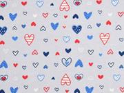 Jersey unterschiedliche Herzchen, hellgrau