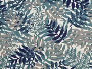 Dekostoff Leinenlook Palmblätter, grünpetrol natur