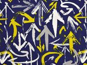 RESTSTÜCK 30 cm Dekostoff Leinenlook Pfeile Graffiti Style, senfgelb dunkelblau