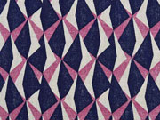 Dekostoff Leinenlook geometrisches Muster, beere dunkelblau natur