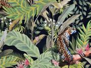 Dekosamt Velourstoff Leoparden im Dschungel, hellgrün schwarz