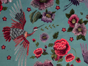 Dekosamt Blumen Kraniche, rot dunkles altmint