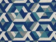 Dekostoff Leinenlook geometrisches Dreiecksmuster, grünpetrol natur