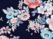Jersey große Blumen, apricot dunkelblau