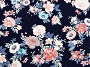 Jersey Blumen, apricot dunkelblau