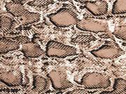 Blusenstoff Crepe Schlangenmuster, braun