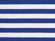 Jersey Streifen 1 cm, mittelblau weiß