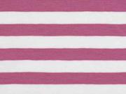 Jersey Streifen 1 cm, altrosa weiß