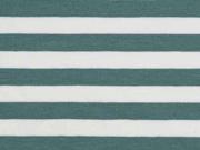 Jerseystoff Streifen 1 cm, dunkelmint weiß