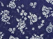 Stretchjeansstoff Blumen, weiß dunkelblau