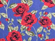 Stretchjeansstoff Rosen, rot jeansblau