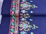 RESTSTÜCK 49 cm Stretchjeansstoff bunte Stickerei India Blumen, dunkelblau