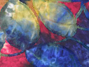 Jersey mit Struktur Batik Blätter, dunkelblau weinrot ocker