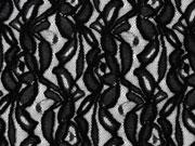 elastischer Spitzenstoff Blumen, schwarz