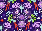 Baumwollstoff Blumen Knospen Blätter, flieder lila