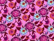 Baumwollstoff Blumen, weinrot rosa