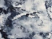 Viskosejersey Batik Marmoroptik, dunkelblau