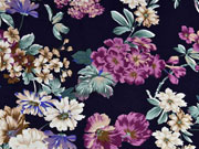 Viskosejersey Pfingstrosen Blumen, flieder mint dunkelblau