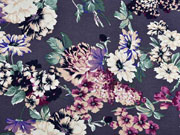 Viskosejersey Pfingstrosen Blumen, flieder mint dunkelgrau