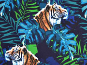 Softshell Jackenstoff Tiger Digitaldruck, blaugrün