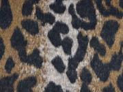 Jackenstoff mit Wollanteil Leopardenmuster angeraut, braun