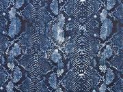 Baumwoll Stretch Schlangenmuster, dunkelblau