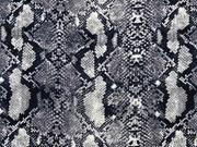 Baumwollstoff Schlangenmuster, grau schwarz