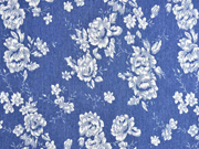 Stretchjeansstoff Blumen, weiß jeansblau
