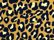 Alpenfleece Sweatstoff Leopardenmuster, schwarz ocker