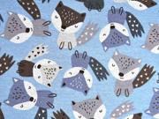Alpenfleece Sweatstoff Füchse, hellblau