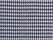 Jacquardjersey Pepita Hahnentritt, dunkelblau weiß