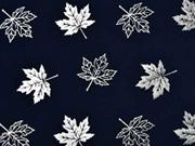 Jersey Ahornblätter silber metallic, dunkelblau