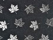 Jersey Ahornblätter silber metallic, anthrazit meliert