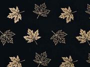 RESTSTÜCK 60 cm Jersey Ahornblätter kupfer metallic, schwarz