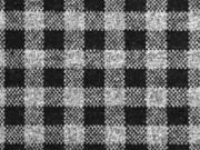 Jacquardjersey Karomuster angeraut, schwarz grau