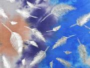 Jersey Batiklook silberne Glitzerfedern, blau orange lila