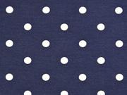 Jersey Punkte 1 cm, weiß dunkelblau