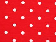 Jersey Punkte 1 cm, weiß rot