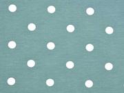 Jersey Punkte 1 cm, weiß altmint
