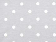 Jersey Punkte 1 cm, weiß hellgrau
