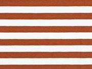 Jerseystoff Streifen 1 cm, rostbraun weiß