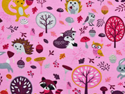 Jersey Waldtiere Laub Pilze, beere rosa