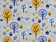 Jersey Bäume Laub Eicheln, blau senfgelb hellgrau