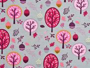 Jersey Bäume Laub Eicheln, rosa beere hellgrau