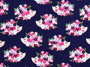 Jersey Igel Blumen Herzen, dunkelblau